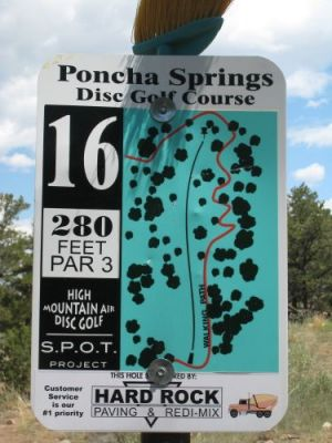 Poncha Springs, Main course, Hole 16 Hole sign