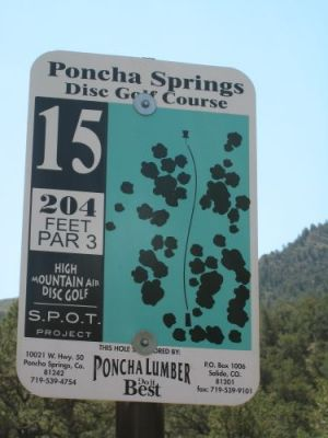 Poncha Springs, Main course, Hole 15 Hole sign