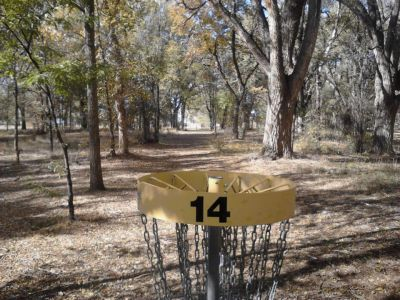 Pioneer Park DGC, Main course, Hole 14 Reverse (back up the fairway)