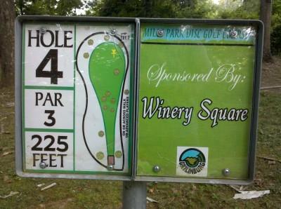 Mills Park, Main course, Hole 4 Hole sign
