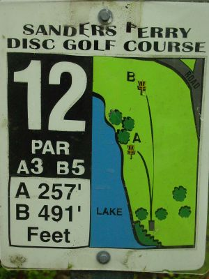 Sanders Ferry Park, Main course, Hole 12 Hole sign