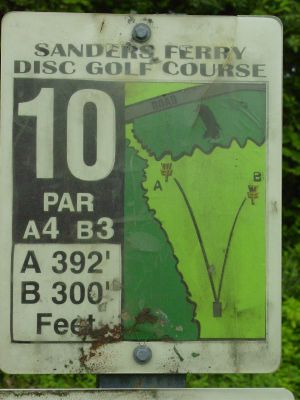 Sanders Ferry Park, Main course, Hole 10 Hole sign