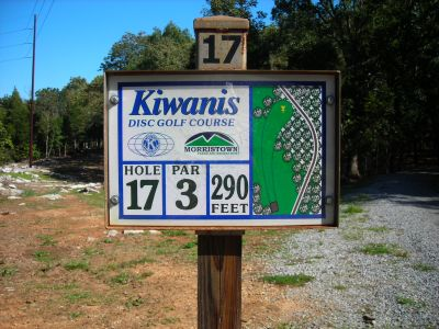 Morristown Kiwanis DGC, Main course, Hole 17 Hole sign