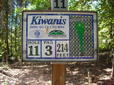 Morristown Kiwanis DGC, Main course, Hole 11 Hole sign