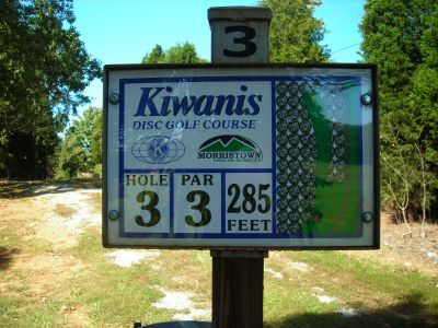 Morristown Kiwanis DGC, Main course, Hole 3 Hole sign