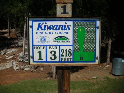 Morristown Kiwanis DGC, Main course, Hole 1 Hole sign