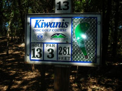 Morristown Kiwanis DGC, Main course, Hole 13 Hole sign
