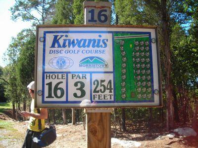 Morristown Kiwanis DGC, Main course, Hole 16 Hole sign