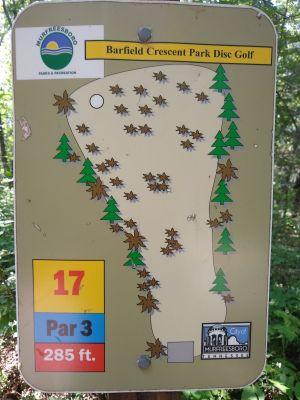 Barfield Crescent Park, Main course, Hole 17 Hole sign