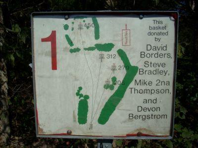 Cedar Hill Park, Main course, Hole 1 Hole sign