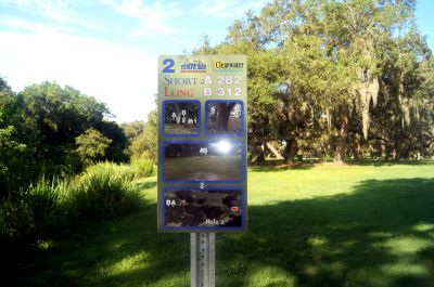 Cliff Stephens Park, Main course, Hole 2 Hole sign