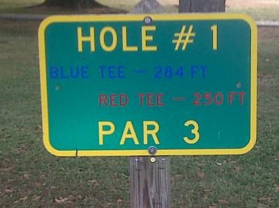 Floral Park, Main course, Hole 1 Hole sign