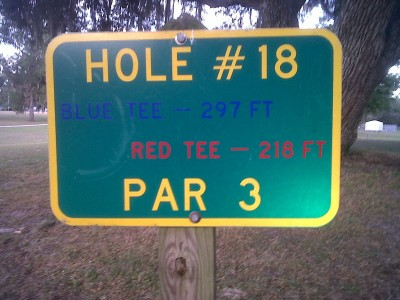 Floral Park, Main course, Hole 18 Hole sign