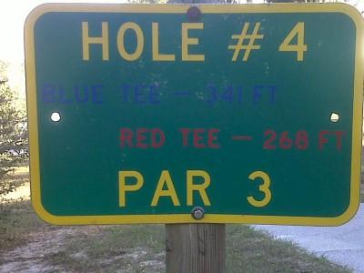 Floral Park, Main course, Hole 4 Hole sign
