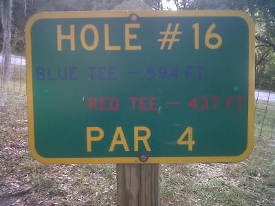 Floral Park, Main course, Hole 16 Hole sign