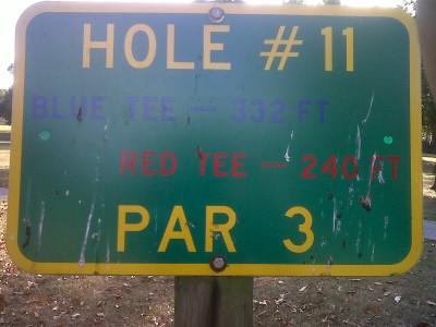 Floral Park, Main course, Hole 11 Hole sign