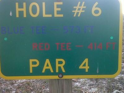 Floral Park, Main course, Hole 6 Hole sign