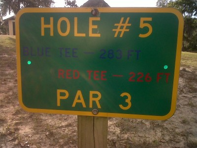 Floral Park, Main course, Hole 5 Hole sign