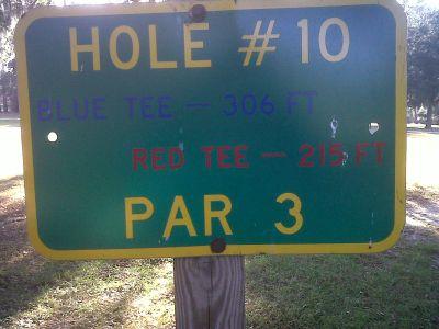 Floral Park, Main course, Hole 10 Hole sign