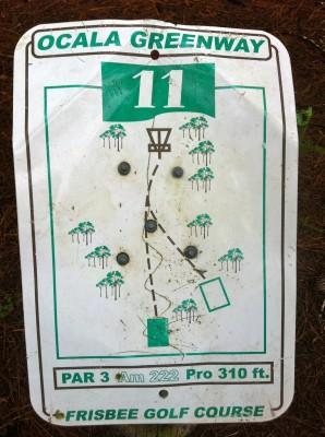 Ocala Greenway, Main course, Hole 11 Hole sign