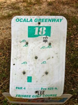 Ocala Greenway, Main course, Hole 18 Hole sign