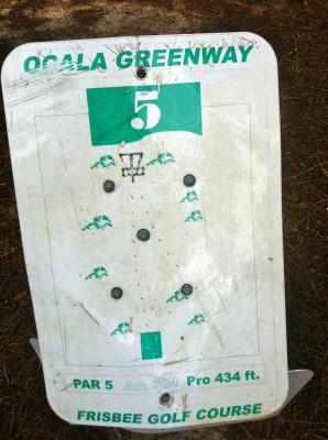 Ocala Greenway, Main course, Hole 5 Hole sign
