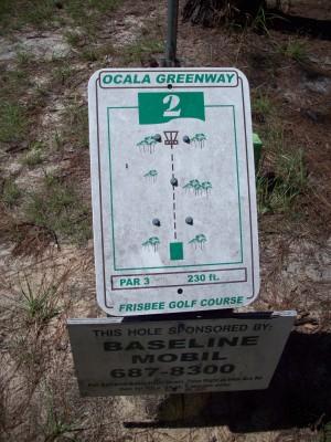 Ocala Greenway, Main course, Hole 2 Hole sign