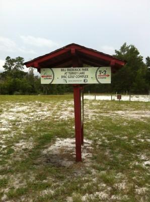 Bill Frederick Park, Turkey Lake , Hole 1 Hole sign