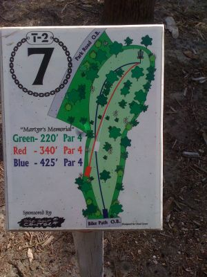 Bill Frederick Park, T2 - The Turkeynator , Hole 7 Hole sign