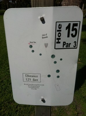 Reed Canal Park, Main course, Hole 15 Hole sign