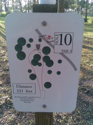 Reed Canal Park, Main course, Hole 10 Hole sign