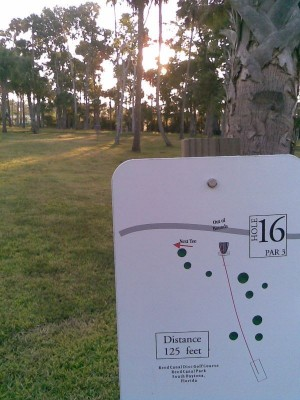 Reed Canal Park, Main course, Hole 16 Hole sign