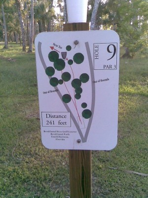 Reed Canal Park, Main course, Hole 9 Hole sign