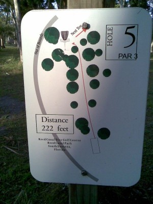 Reed Canal Park, Main course, Hole 5 Hole sign