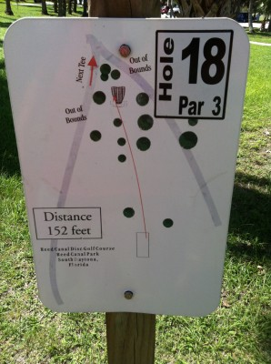 Reed Canal Park, Main course, Hole 18 Hole sign