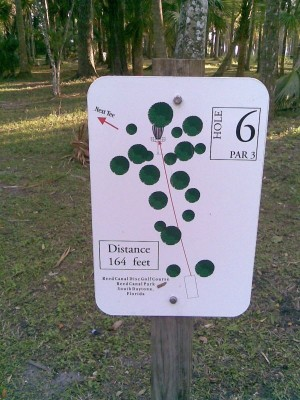 Reed Canal Park, Main course, Hole 6 Hole sign