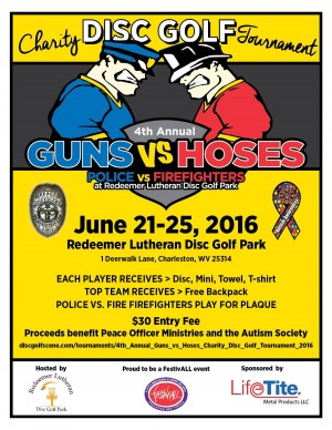 4th Annual Guns vs Hoses Charity Disc Golf Tournament graphic