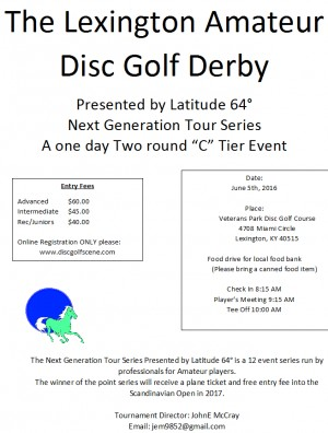 The Lexington Amateur Disc Golf Derby A Next Generation Tour Stop graphic