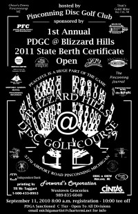 PDGC @ Blizzard Hills - 2011 State Berth Certificate Open graphic
