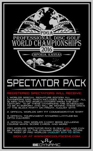 2016 PDGA Professional World Disc Golf Championships - Spectator Pack graphic