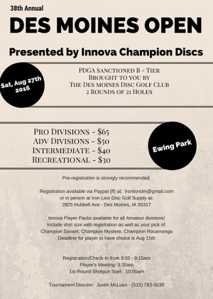 38th Annual Des Moines Open presented by Innova Champion Discs graphic