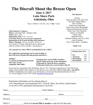 2017 Discraft Shoot the Breeze Open graphic