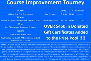 Robbins Island Course Improvement Project Tourney ***$450 in added Cash and Prizes***  Willmar Mn graphic