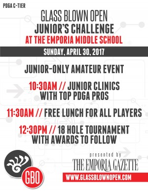 2017 Dynamic Discs Glass Blown Open Junior's Challenge presented by the Emporia Gazette graphic