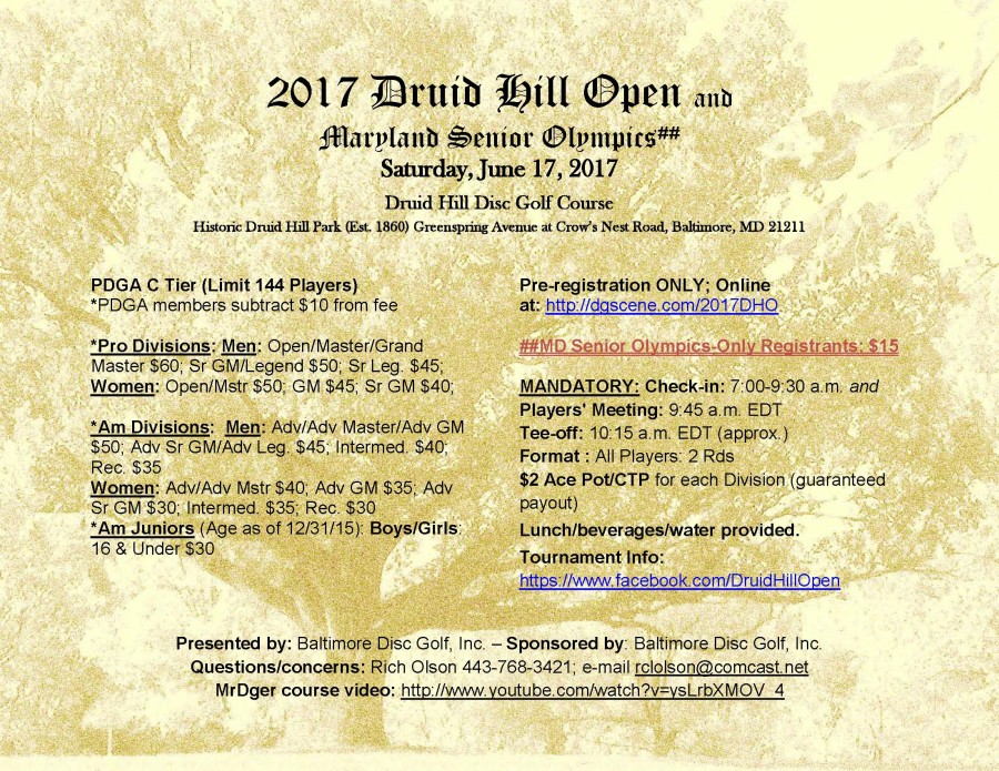 Druid Hill Open (2017, Baltimore Disc Golf, Inc ) · Disc