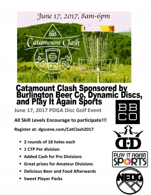 Catamount Clash Sponsored by Dynamic Disc, Burlington Beer Co and Play it Again Sports graphic