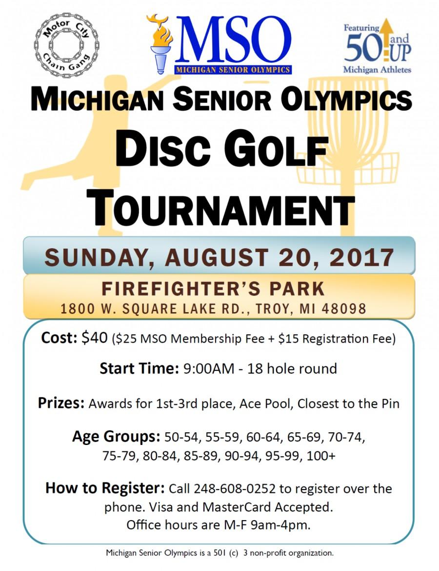 3rd Annual Michigan Senior Olympics Disc Golf Tournament