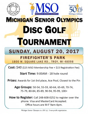 3rd Annual Michigan Senior Olympics Disc Golf Tournament graphic