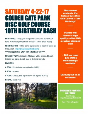 Golden Gate Disc Golf Course 10th Birthday Bash graphic