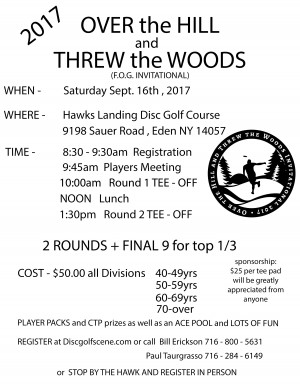 1st Annual Over the Hill and Threw the Woods invitational graphic